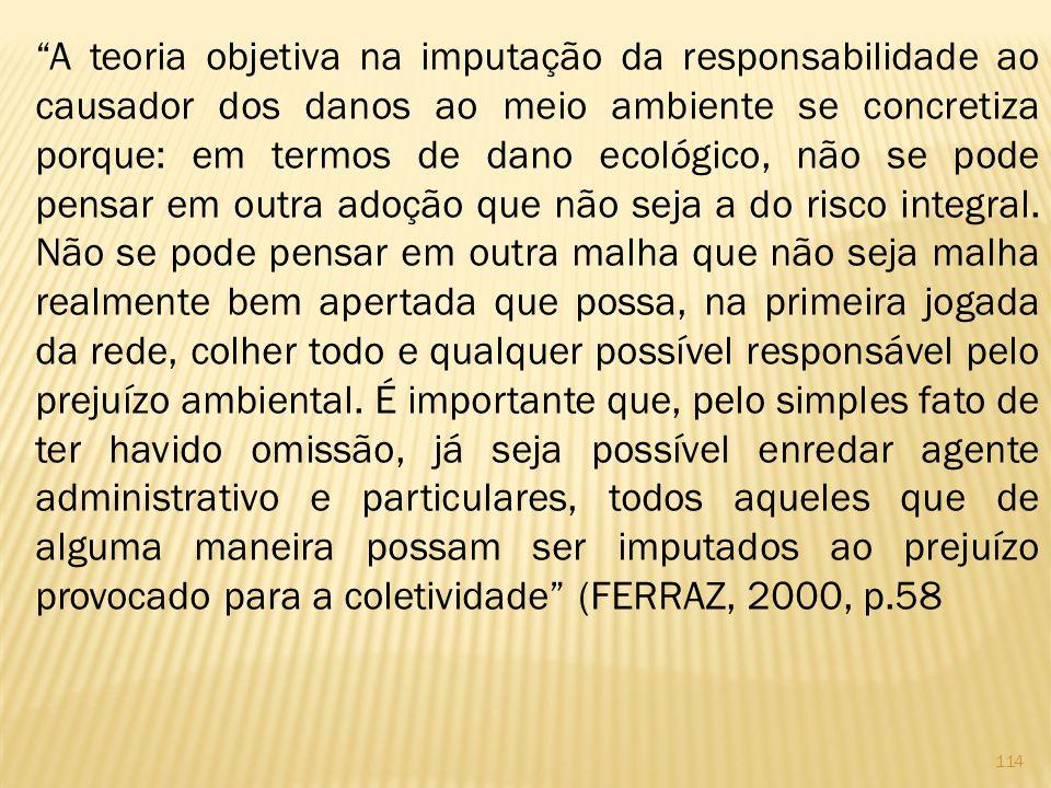 114 A teoria objetiva na imputação da responsabilidade ao causador dos danos ao meio ambiente se concretiza porque: em termos de dano ecológico, não se pode pensar em outra adoção que não seja a do risco integral.