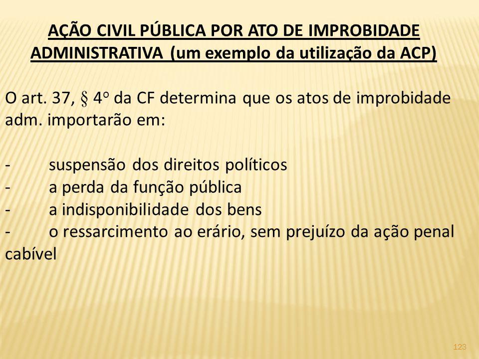 123 AÇÃO CIVIL PÚBLICA POR ATO DE IMPROBIDADE ADMINISTRATIVA (um exemplo da utilização da ACP) O art.
