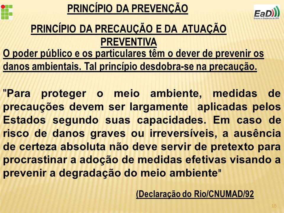 PRINCÍPIO DA PREVENÇÃO PRINCÍPIO DA PRECAUÇÃO E DA ATUAÇÃO PREVENTIVA O poder público e os particulares têm o dever de prevenir os danos ambientais.