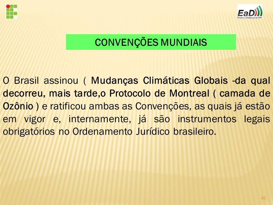 45 O Brasil assinou ( Mudanças Climáticas Globais -da qual decorreu, mais tarde,o Protocolo de Montreal ( camada de Ozônio ) e ratificou ambas as Convenções, as quais já estão em vigor e, internamente, já são instrumentos legais obrigatórios no Ordenamento Jurídico brasileiro.