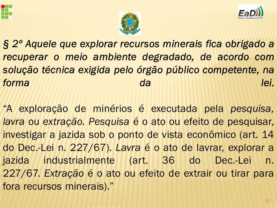 § 2º Aquele que explorar recursos minerais fica obrigado a recuperar o meio ambiente degradado, de acordo com solução técnica exigida pelo órgão público competente, na forma da lei.