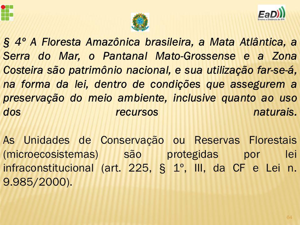 § 4º A Floresta Amazônica brasileira, a Mata Atlântica, a Serra do Mar, o Pantanal Mato-Grossense e a Zona Costeira são patrimônio nacional, e sua utilização far-se-á, na forma da lei, dentro de condições que assegurem a preservação do meio ambiente, inclusive quanto ao uso dos recursos naturais.