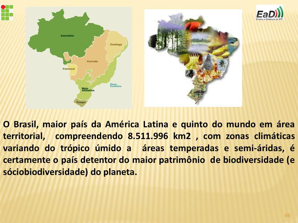 O Brasil, maior país da América Latina e quinto do mundo em área territorial, compreendendo 8.511.996 km2, com zonas climáticas variando do trópico úmido a áreas temperadas e semi-áridas, é certamente o país detentor do maior patrimônio de biodiversidade (e sóciobiodiversidade) do planeta.