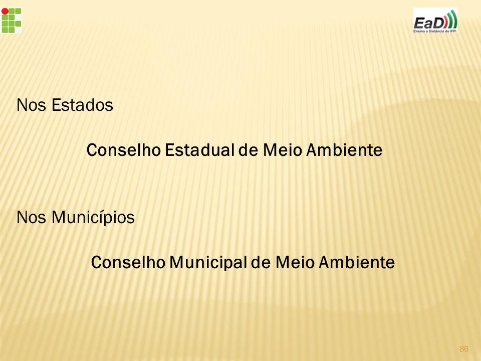 Nos Estados Conselho Estadual de Meio Ambiente Nos Municípios Conselho Municipal de Meio Ambiente 86