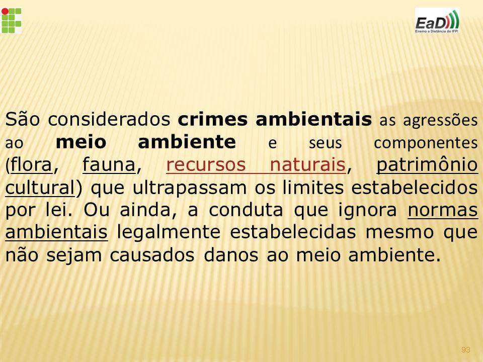 São considerados crimes ambientais as agressões ao meio ambiente e seus componentes ( flora, fauna, recursos naturais, patrimônio cultural) que ultrapassam os limites estabelecidos por lei.