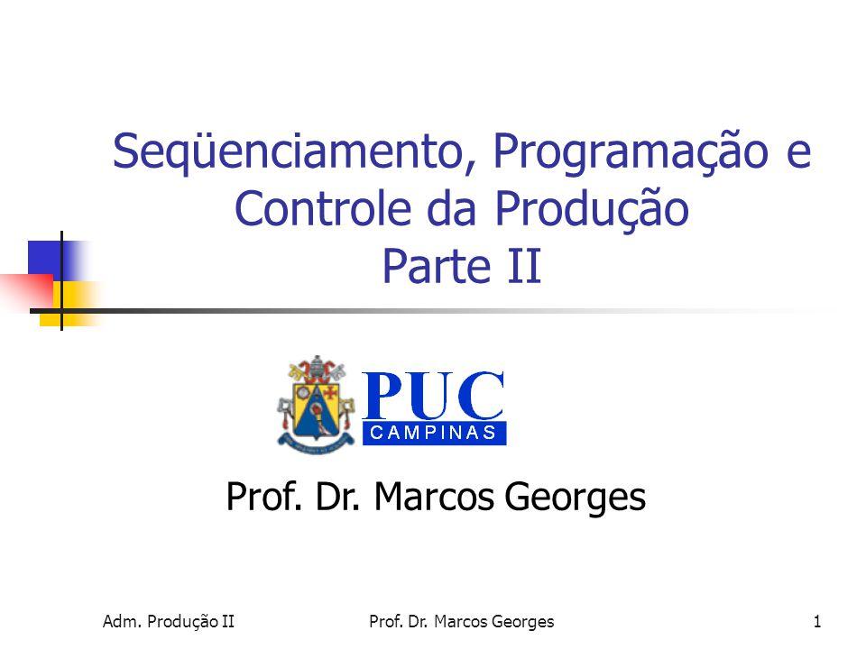 Adm. Produção IIProf. Dr. Marcos Georges1 Seqüenciamento, Programação e Controle da Produção Parte II Prof. Dr. Marcos Georges