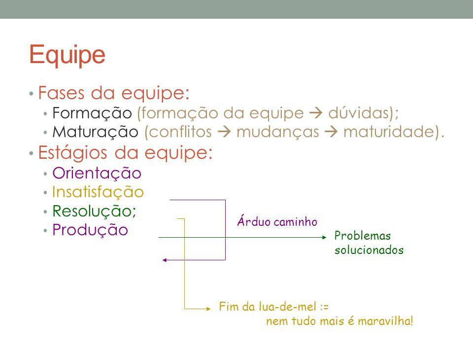 Equipe Fases da equipe: Formação (formação da equipe  dúvidas); Maturação (conflitos  mudanças  maturidade).