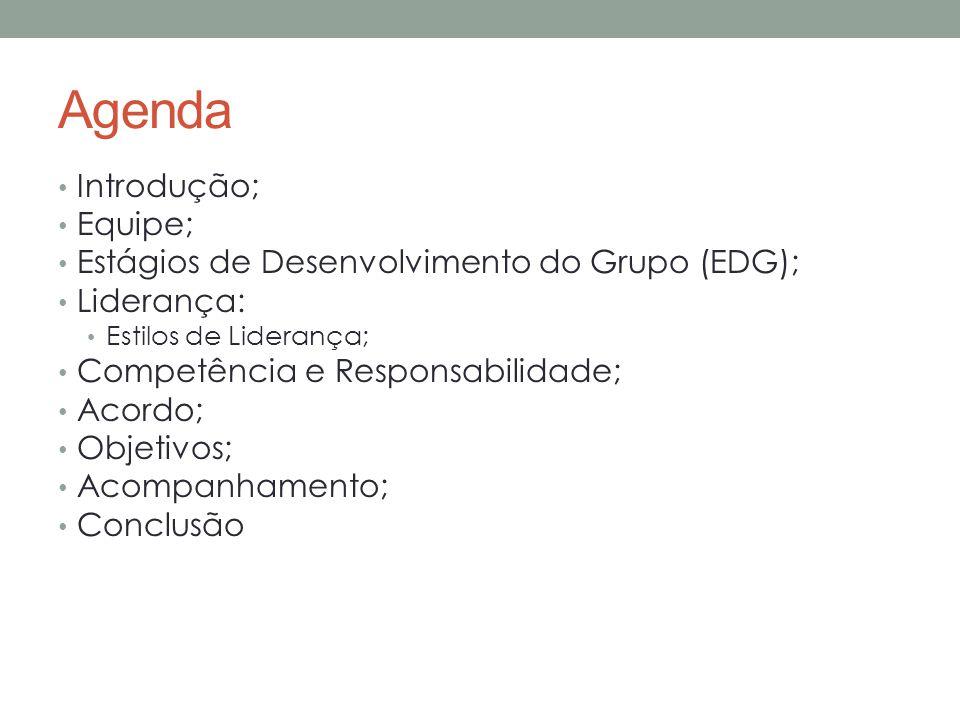 Agenda Introdução; Equipe; Estágios de Desenvolvimento do Grupo (EDG); Liderança: Estilos de Liderança; Competência e Responsabilidade; Acordo; Objetivos; Acompanhamento; Conclusão