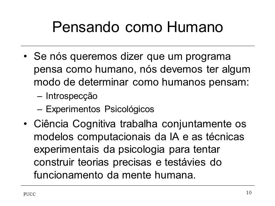 PUCC 9 Agir como humano Teste de Touring –Processamento em linguagem natural –Representação do Conhecimento –Aprendizado –Raciocínio Automático –Robot