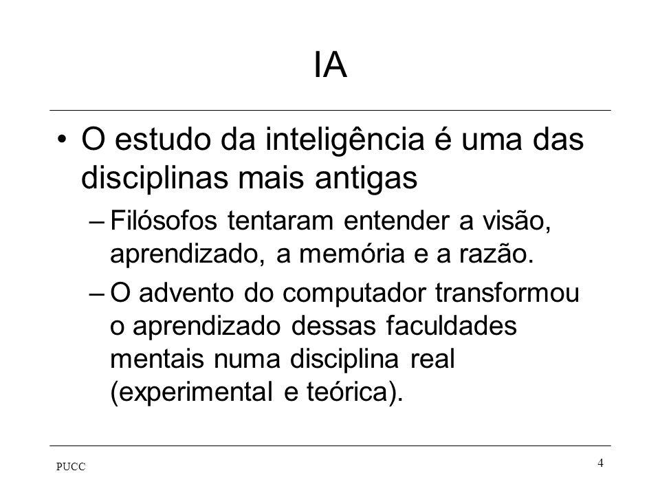 PUCC 3 IA A Inteligência Artificial tenta entender e construir entidades inteligentes. –Aprender mais sobre nós mesmos –As entidades inteligentes cons