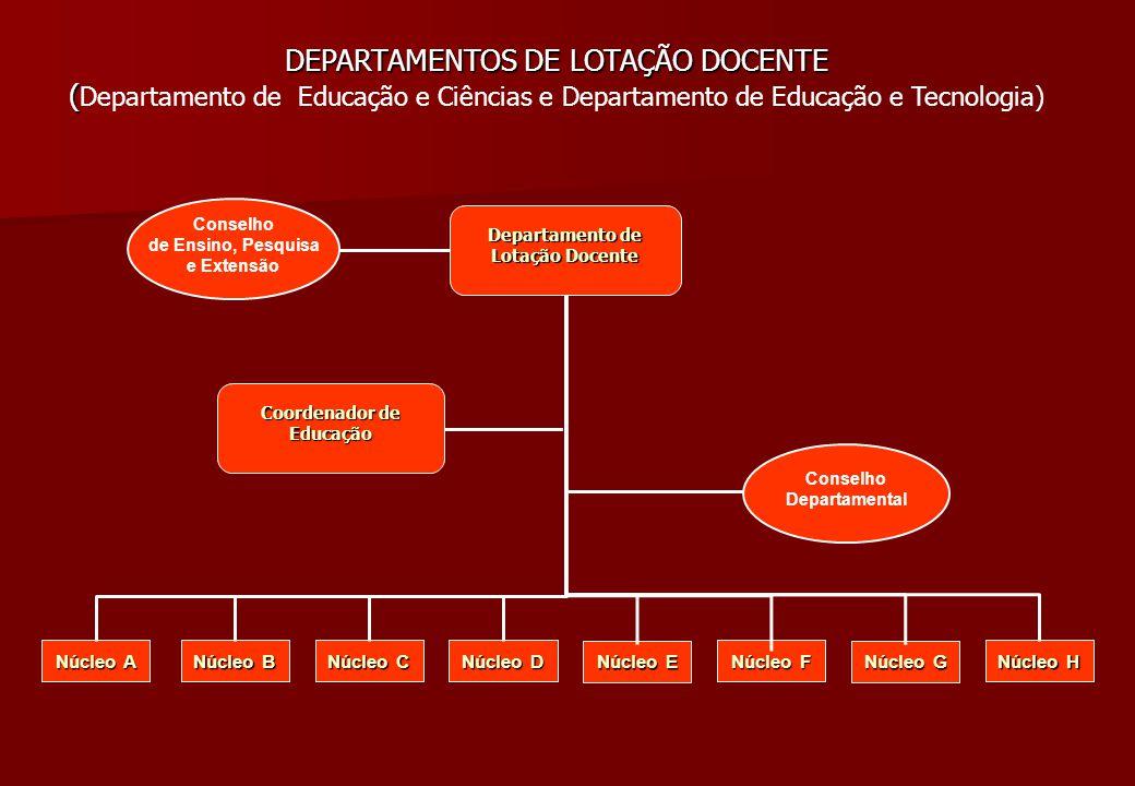 Departamento de Lotação Docente Departamento de Lotação Docente Conselho Departamental Conselho de Ensino, Pesquisa e Extensão DEPARTAMENTOS DE LOTAÇÃ