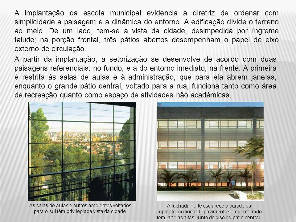 A implantação da escola municipal evidencia a diretriz de ordenar com simplicidade a paisagem e a dinâmica do entorno. A edificação divide o terreno a