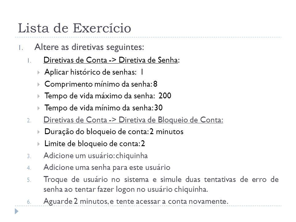 Lista de Exercício 1.Altere as diretivas seguintes: 1.