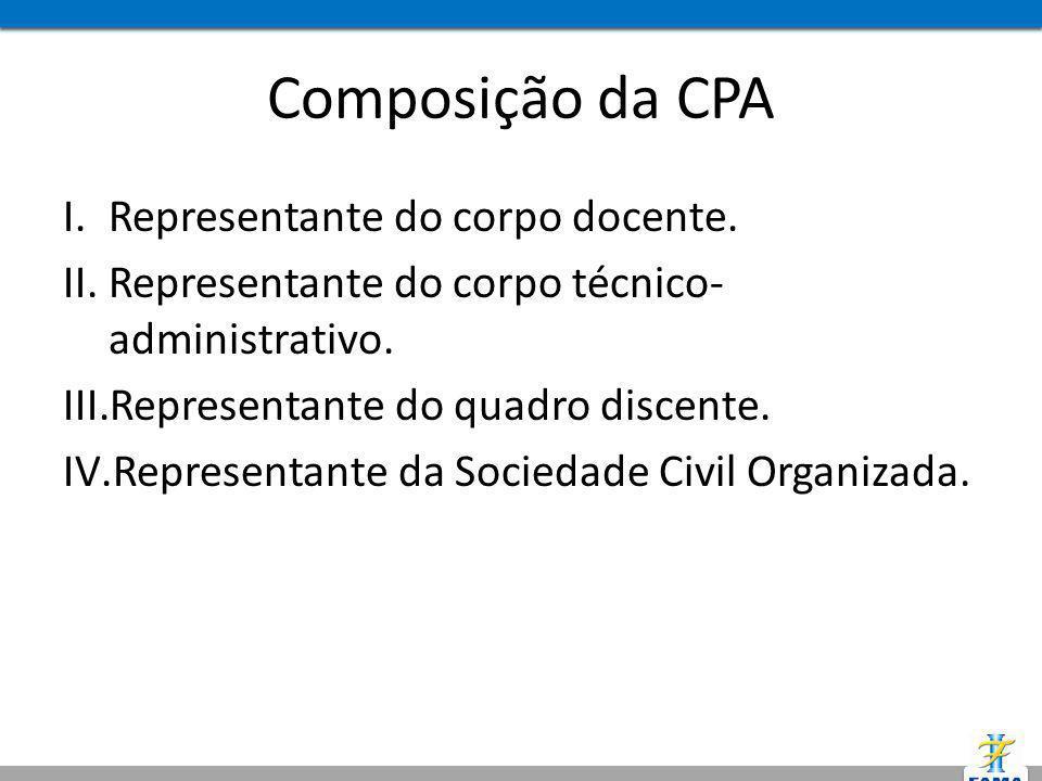 Composição da CPA I.Representante do corpo docente. II.Representante do corpo técnico- administrativo. III.Representante do quadro discente. IV.Repres