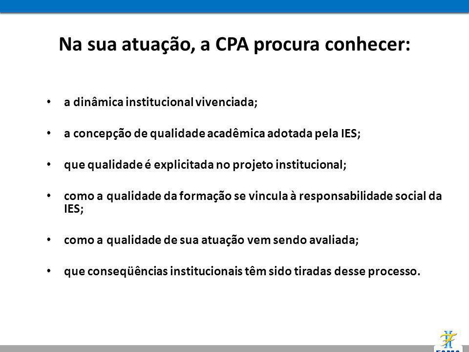 Na sua atuação, a CPA procura conhecer: a dinâmica institucional vivenciada; a concepção de qualidade acadêmica adotada pela IES; que qualidade é expl
