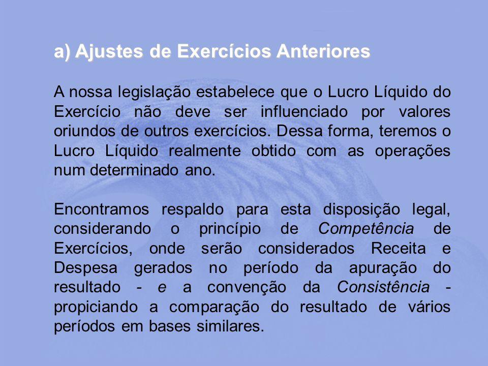 a) Ajustes de Exercícios Anteriores A nossa legislação estabelece que o Lucro Líquido do Exercício não deve ser influenciado por valores oriundos de o