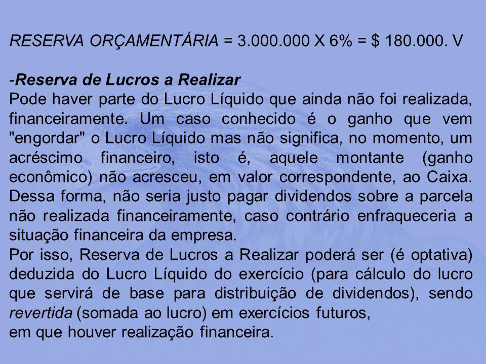 RESERVA ORÇAMENTÁRIA = 3.000.000 X 6% = $ 180.000. V -Reserva de Lucros a Realizar Pode haver parte do Lucro Líquido que ainda não foi realizada, fina