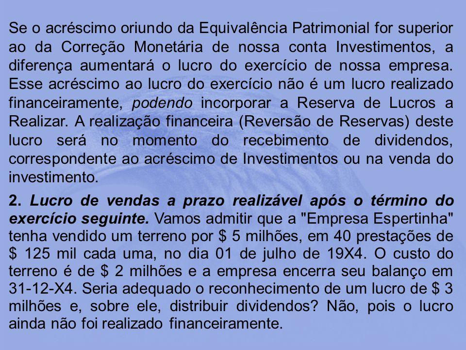Se o acréscimo oriundo da Equivalência Patrimonial for superior ao da Correção Monetária de nossa conta Investimentos, a diferença aumentará o lucro d