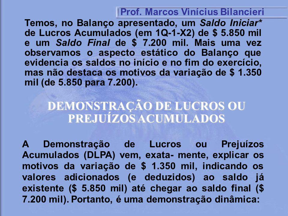 Temos, no Balanço apresentado, um Saldo Iniciar* de Lucros Acumulados (em 1Q-1-X2) de $ 5.850 mil e um Saldo Final de $ 7.200 mil. Mais uma vez observ