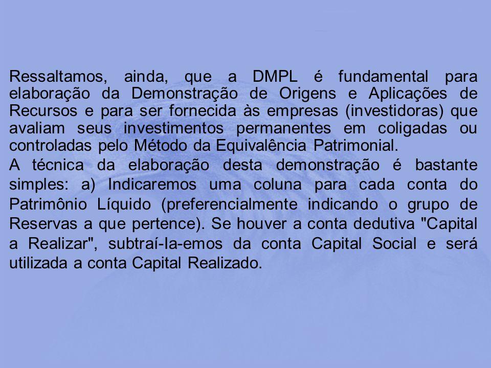 Ressaltamos, ainda, que a DMPL é fundamental para elaboração da Demonstração de Origens e Aplicações de Recursos e para ser fornecida às empresas (inv