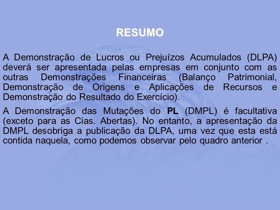 RESUMO A Demonstração de Lucros ou Prejuízos Acumulados (DLPA) deverá ser apresentada pelas empresas em conjunto com as outras Demonstrações Financeir