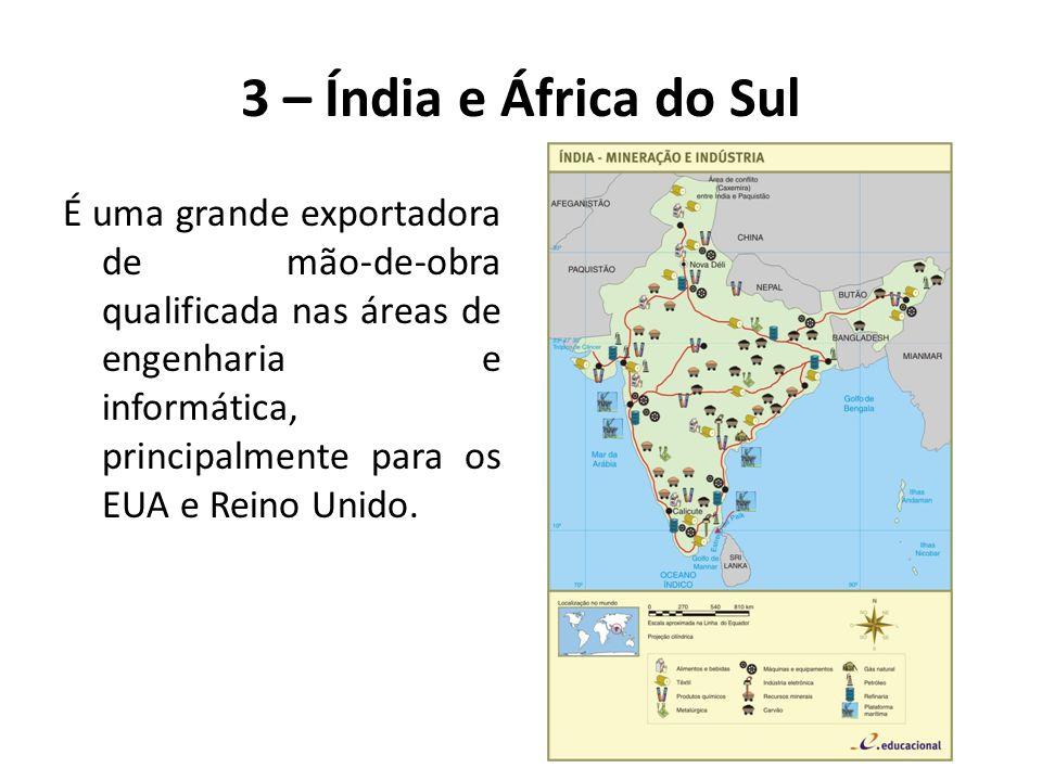É uma grande exportadora de mão-de-obra qualificada nas áreas de engenharia e informática, principalmente para os EUA e Reino Unido. 3 – Índia e Áfric