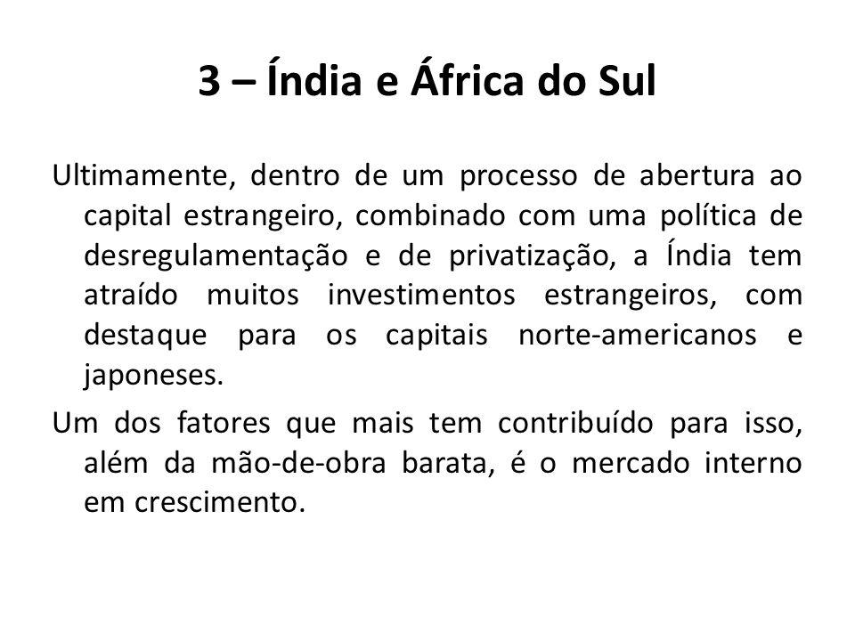 A Índia e a África do Sul, dois importantes países emergentes, só iniciaram seu processo de industrialização após a Segunda Guerra Mundial, quando obtiveram independência política.