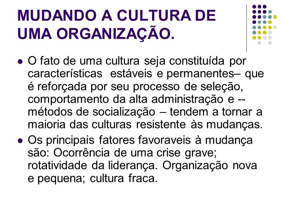 MUDANDO A CULTURA DE UMA ORGANIZAÇÃO. O fato de uma cultura seja constituída por características estáveis e permanentes– que é reforçada por seu proce