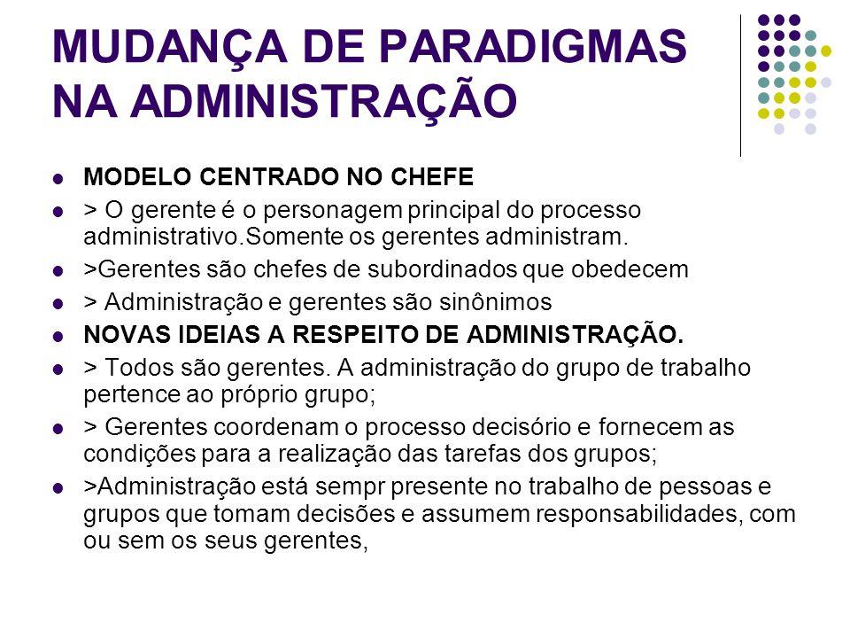 MUDANÇA DE PARADIGMAS NA ADMINISTRAÇÃO MODELO CENTRADO NO CHEFE > O gerente é o personagem principal do processo administrativo.Somente os gerentes ad