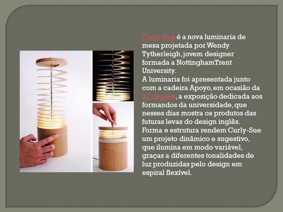 Curly-SueCurly-Sue é a nova luminaria de mesa projetada por Wendy Tytherleigh, jovem designer formada a NottinghamTrent University. A luminaria foi ap