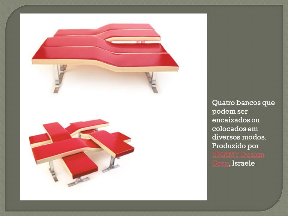 Quatro bancos que podem ser encaixados ou colocados em diversos modos. Produzido por UMAMY Design Grop, Israele UMAMY Design Grop