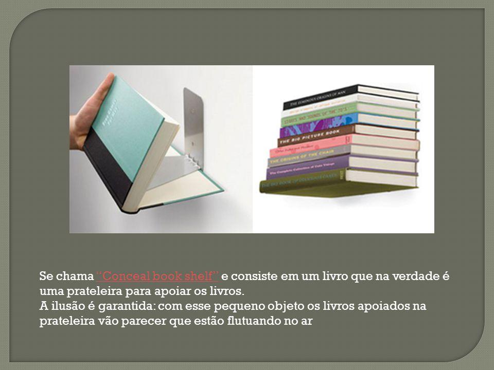 """Se chama """"Conceal book shelf"""" e consiste em um livro que na verdade é uma prateleira para apoiar os livros.""""Conceal book shelf"""" A ilusão é garantida:"""