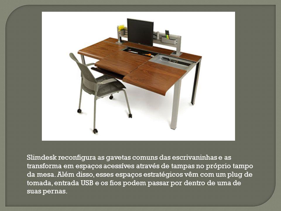 Slimdesk reconfigura as gavetas comuns das escrivaninhas e as transforma em espaços acessíves através de tampas no próprio tampo da mesa. Além disso,