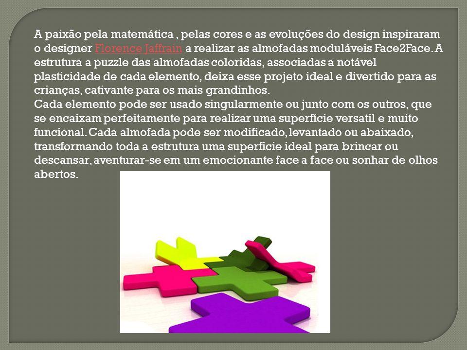 A paixão pela matemática, pelas cores e as evoluções do design inspiraram o designer Florence Jaffrain a realizar as almofadas moduláveis Face2Face. A