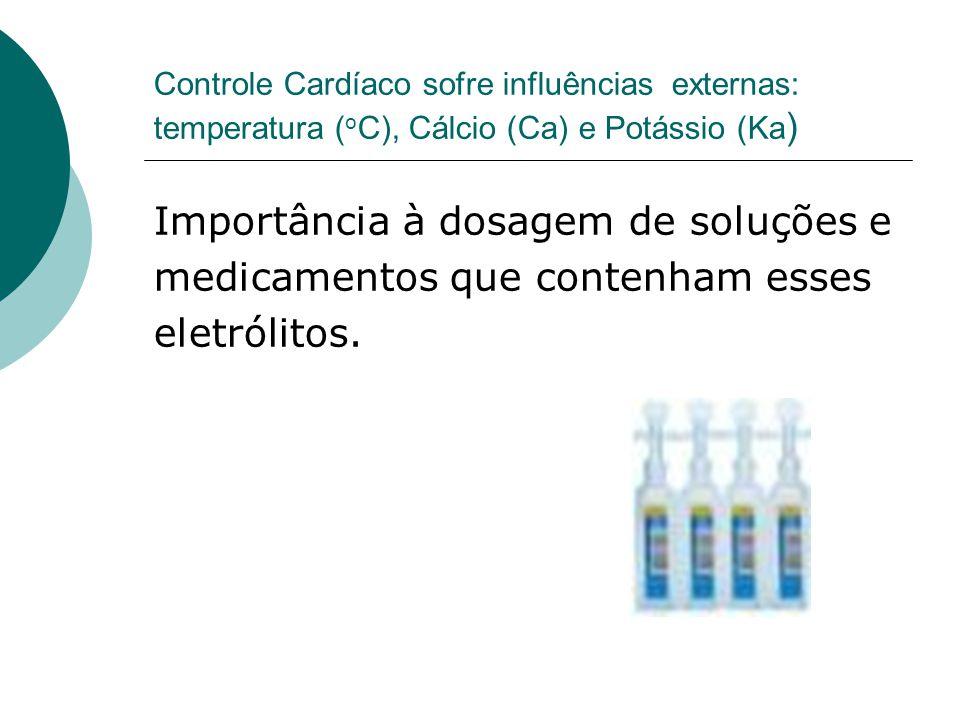 Controle Cardíaco sofre influências externas: temperatura ( o C), Cálcio (Ca) e Potássio (Ka ) Importância à dosagem de soluções e medicamentos que co