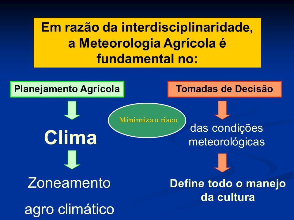 Em razão da interdisciplinaridade, a Meteorologia Agrícola é fundamental no: Planejamento Agrícola Clima Zoneamento agro climático Tomadas de Decisão
