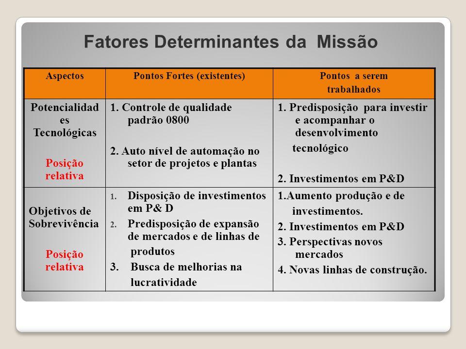 Fatores Determinantes da Missão AspectosPontos Fortes (existentes)Pontos a serem trabalhados Potencialidad es Tecnológicas Posição relativa 1. Control