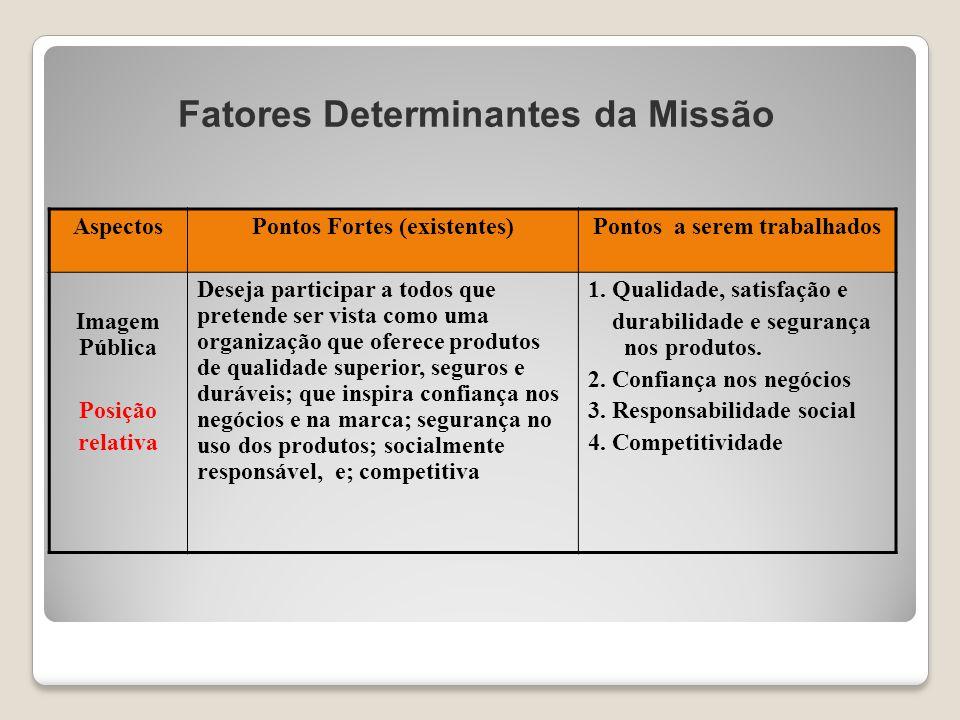 Fatores Determinantes da Missão AspectosPontos Fortes (existentes)Pontos a serem trabalhados Imagem Pública Posição relativa Deseja participar a todos
