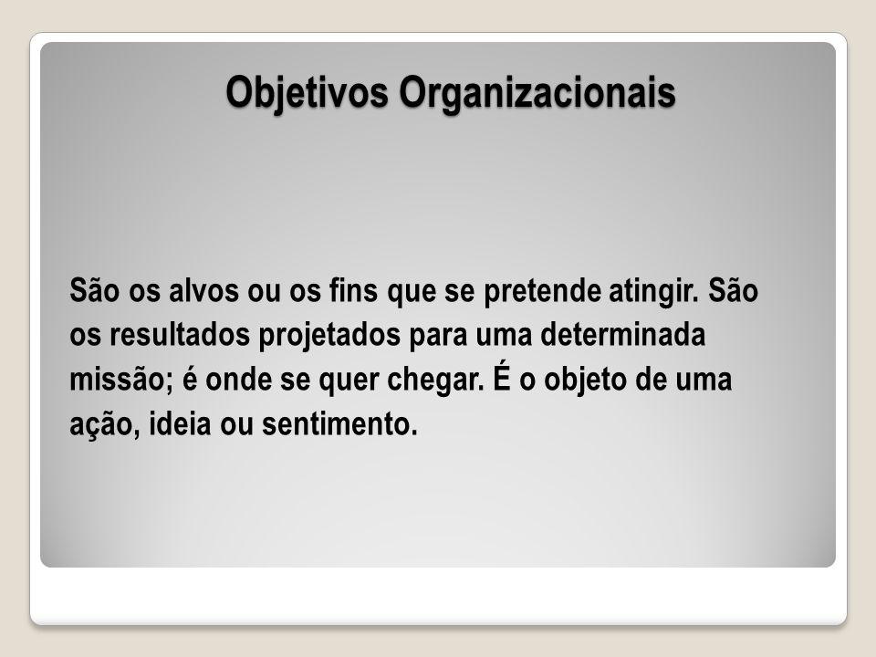 Objetivos Organizacionais São os alvos ou os fins que se pretende atingir. São os resultados projetados para uma determinada missão; é onde se quer ch