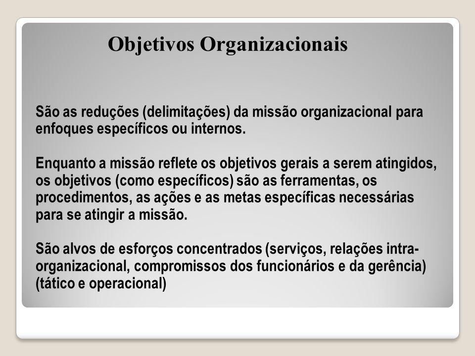 São as reduções (delimitações) da missão organizacional para enfoques específicos ou internos. Enquanto a missão reflete os objetivos gerais a serem a