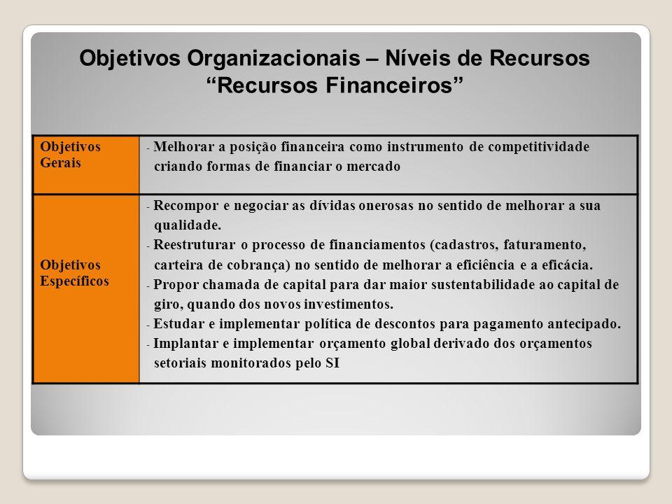 """Objetivos Organizacionais – Níveis de Recursos """"Recursos Financeiros"""" Objetivos Gerais - Melhorar a posição financeira como instrumento de competitivi"""