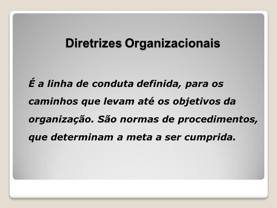 É a linha de conduta definida, para os caminhos que levam até os objetivos da organização. São normas de procedimentos, que determinam a meta a ser cu