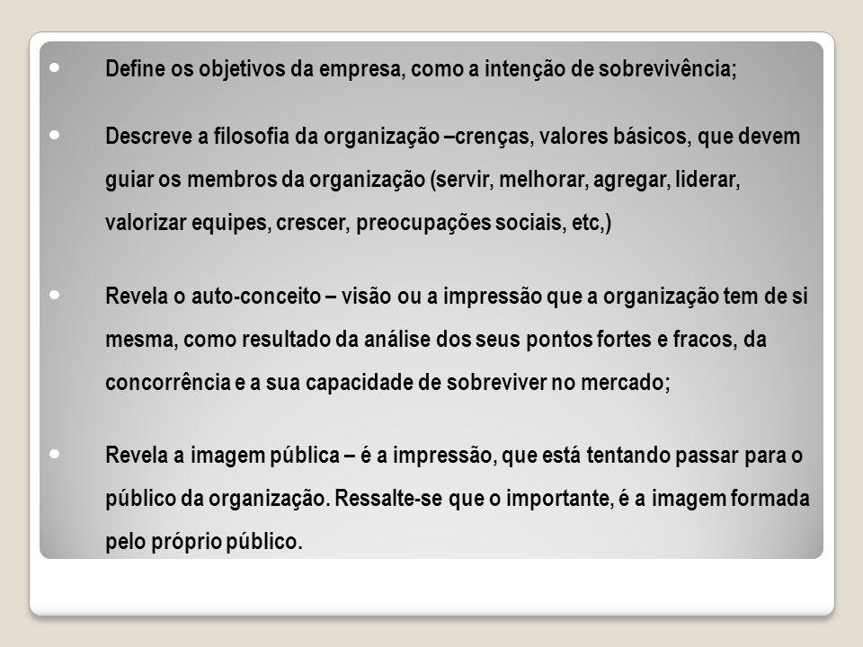Define os objetivos da empresa, como a intenção de sobrevivência; Descreve a filosofia da organização –crenças, valores básicos, que devem guiar os me