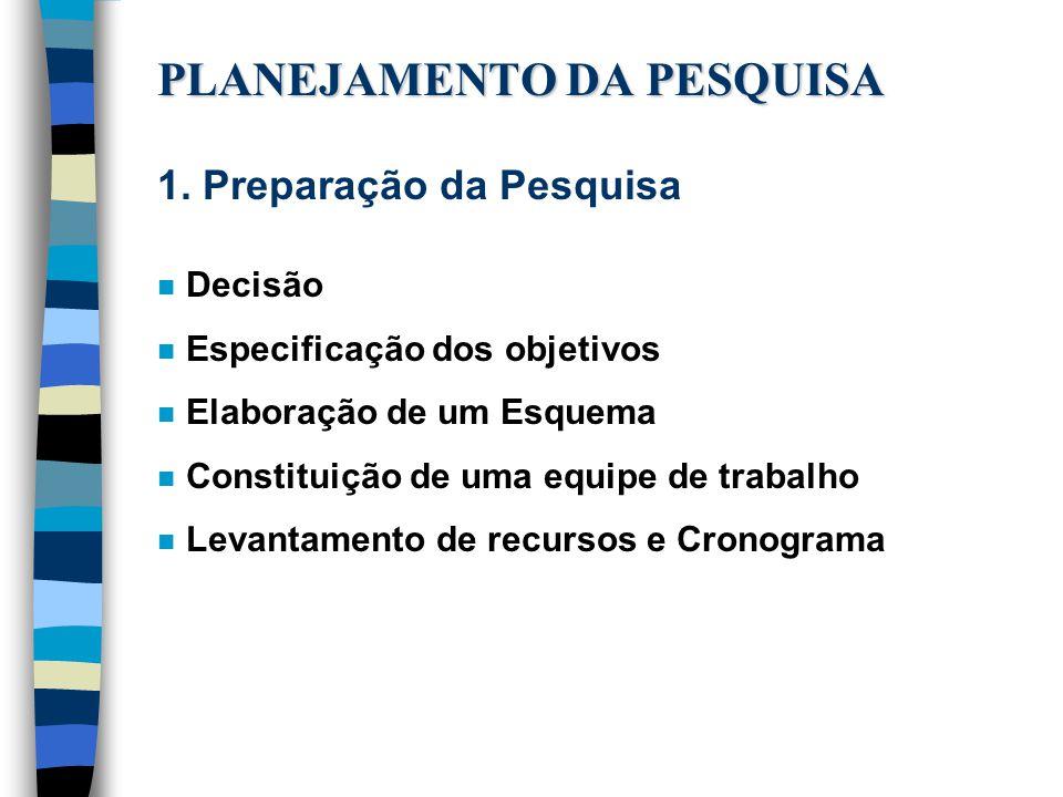 PLANEJAMENTO DA PESQUISA 1.