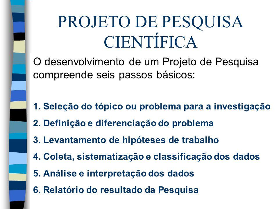 PROJETO DE PESQUISA CIENTÍFICA O desenvolvimento de um Projeto de Pesquisa compreende seis passos básicos: 1.
