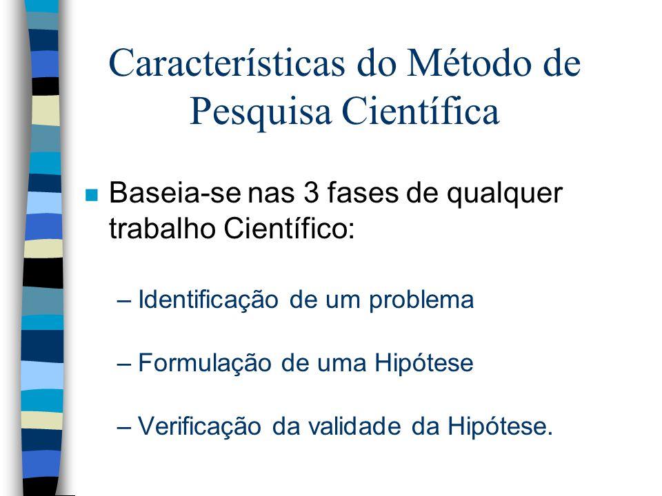 Características do Método de Pesquisa Científica n Baseia-se nas 3 fases de qualquer trabalho Científico: –Identificação de um problema –Formulação de uma Hipótese –Verificação da validade da Hipótese.
