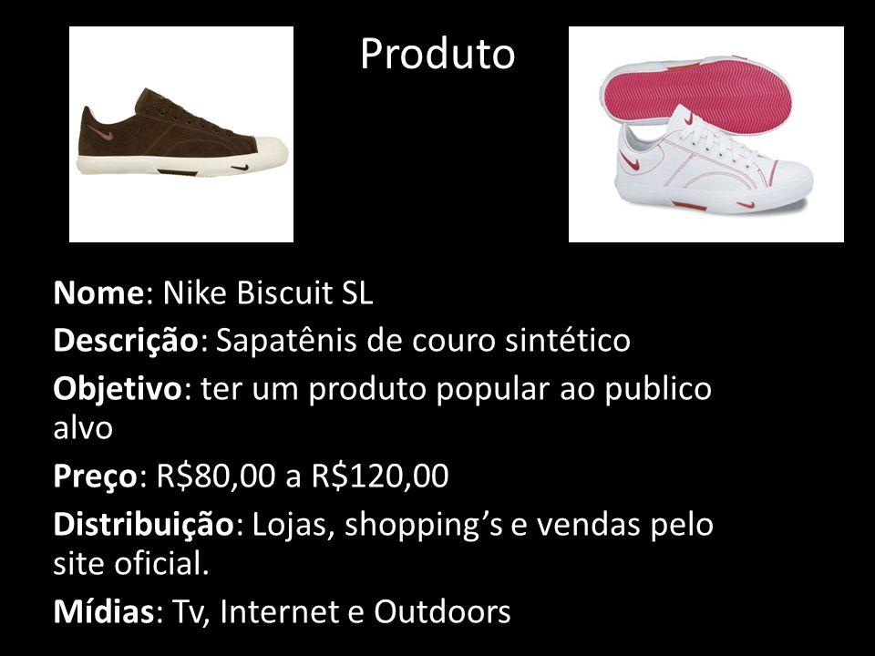 Produto Nome: Nike Biscuit SL Descrição: Sapatênis de couro sintético Objetivo: ter um produto popular ao publico alvo Preço: R$80,00 a R$120,00 Distribuição: Lojas, shopping's e vendas pelo site oficial.