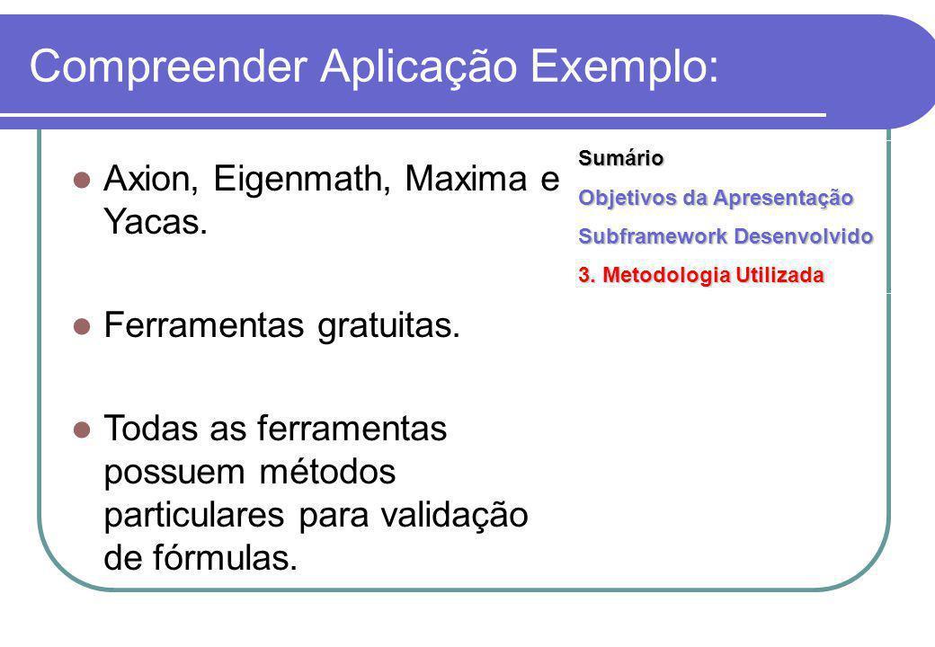 Compreender Aplicação Exemplo: Axion, Eigenmath, Maxima e Yacas.