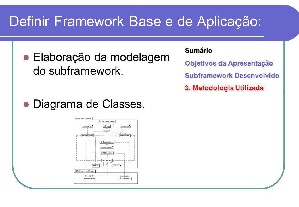 Definir Framework Base e de Aplicação: Elaboração da modelagem do subframework.
