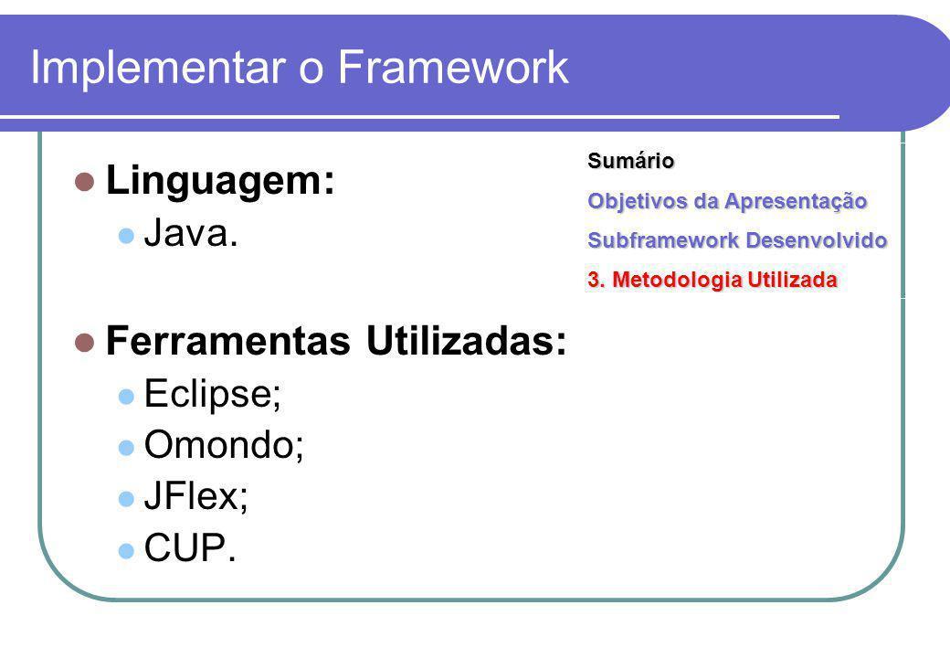 Implementar o Framework Linguagem: Java. Ferramentas Utilizadas: Eclipse; Omondo; JFlex; CUP.